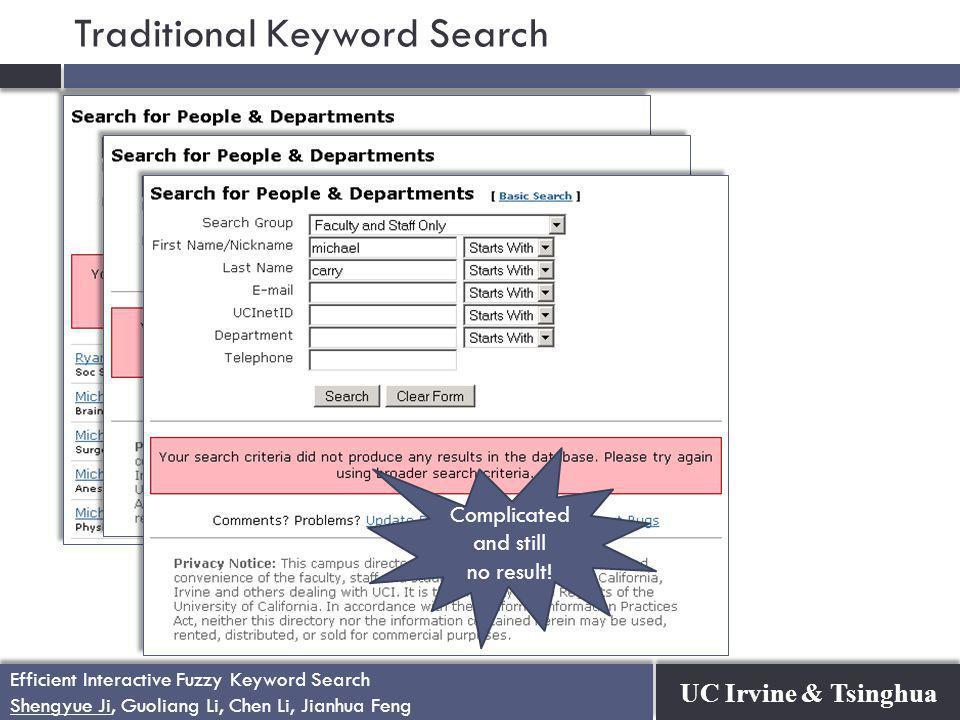 UC Irvine & Tsinghua Efficient Interactive Fuzzy Keyword Search Shengyue Ji, Guoliang Li, Chen Li, Jianhua Feng Efficient Interactive Fuzzy Keyword Search Shengyue Ji, Guoliang Li, Chen Li, Jianhua Feng Too many results.