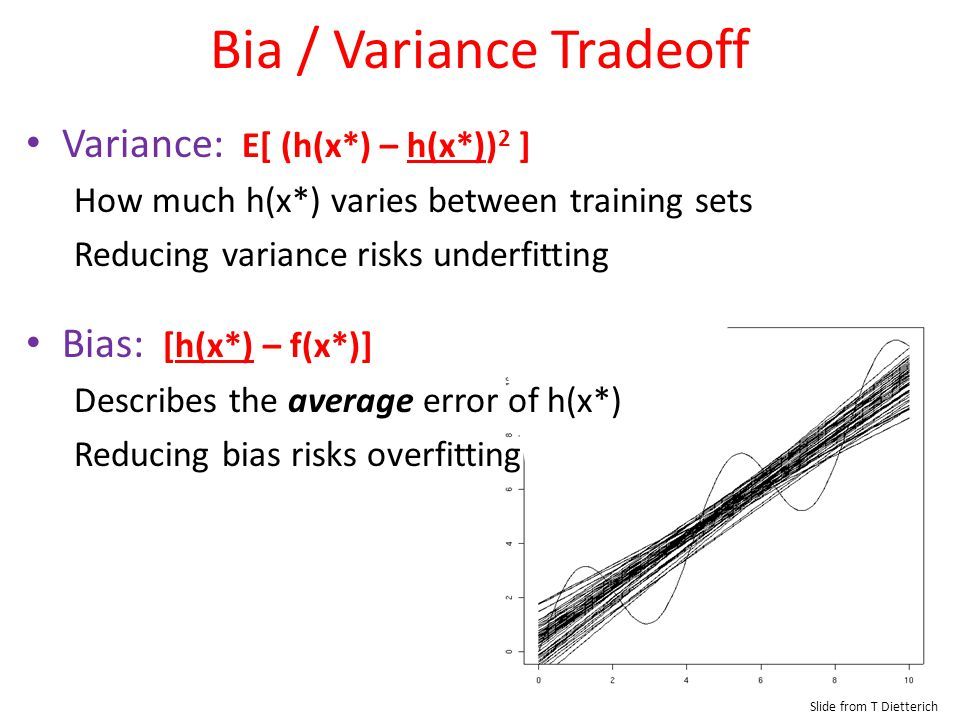 Bia / Variance Tradeoff Slide from T Dietterich Variance: E[ (h(x*) – h(x*)) 2 ] How much h(x*) varies between training sets Reducing variance risks u
