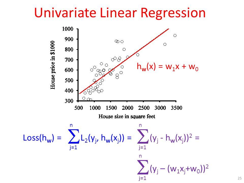 Univariate Linear Regression 25 h w (x) = w 1 x + w 0 Loss(h w ) = j=1 n  L 2 (y j, h w (x j )) = j=1 n  (y j - h w (x j )) 2 = j=1 n  (y j – (w 1 x j +w 0 )) 2