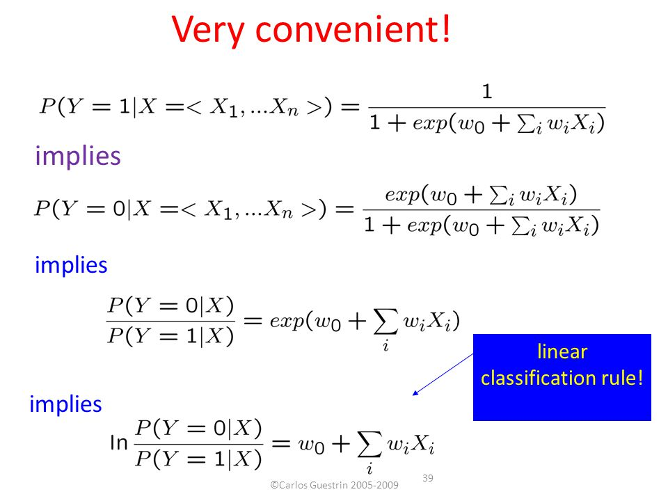 Very convenient! implies linear classification rule! 39 ©Carlos Guestrin 2005-2009