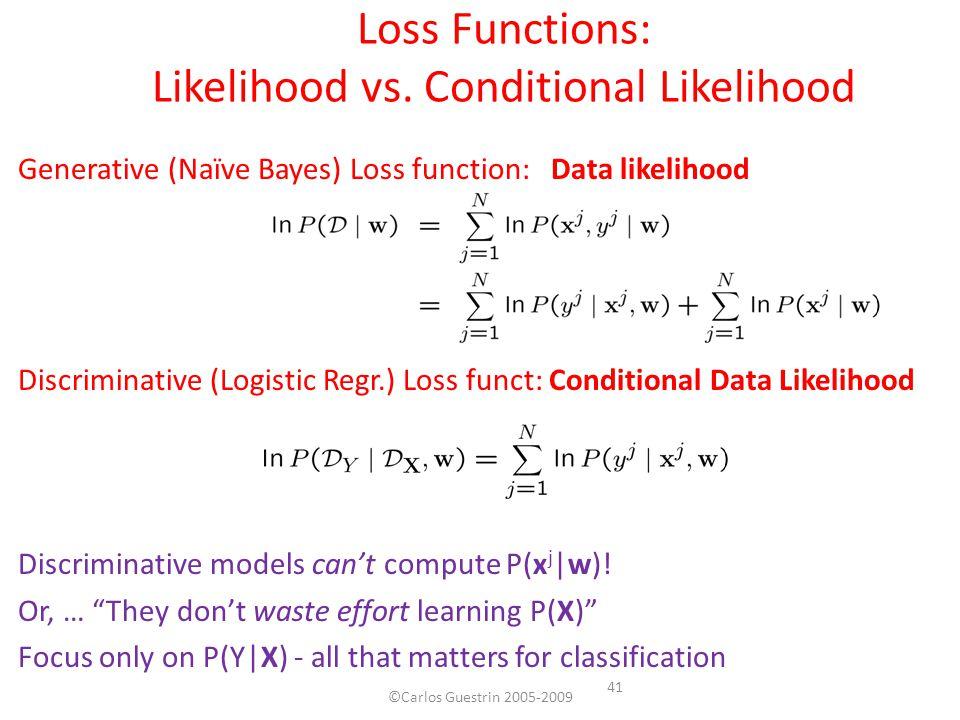 Generative (Naïve Bayes) Loss function: Data likelihood Discriminative (Logistic Regr.) Loss funct: Conditional Data Likelihood Discriminative models can't compute P(x j  w).