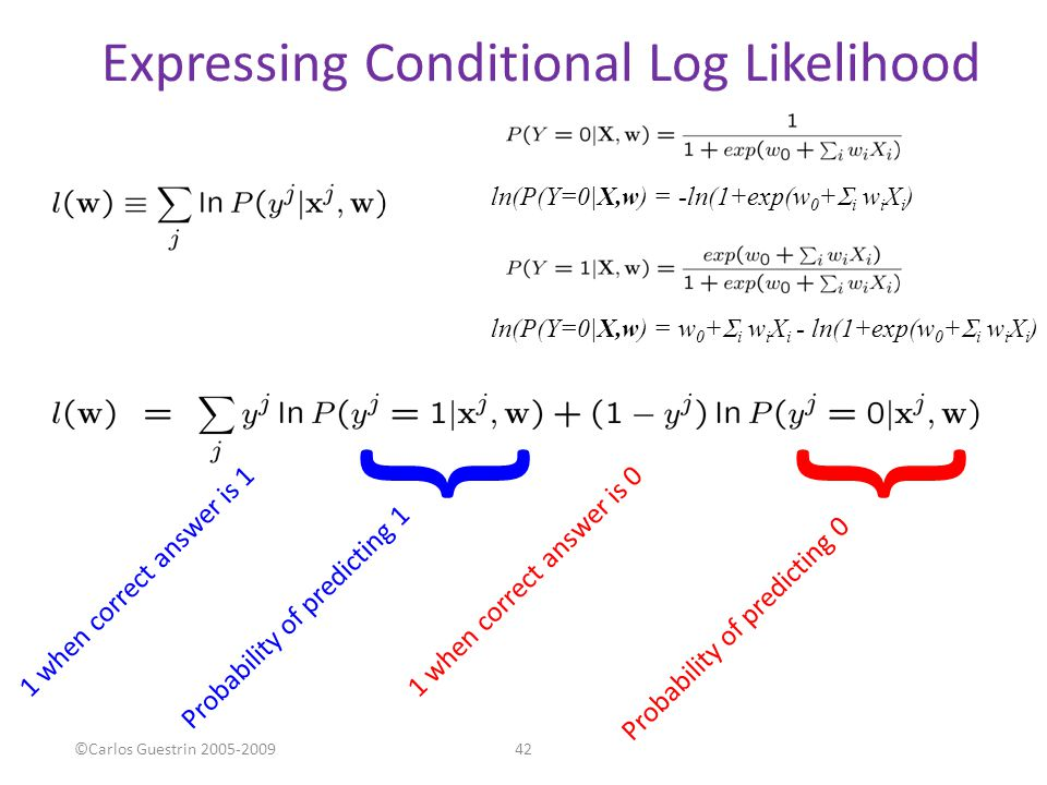 Expressing Conditional Log Likelihood 42©Carlos Guestrin 2005-2009 } Probability of predicting 1 Probability of predicting 0 } 1 when correct answer i