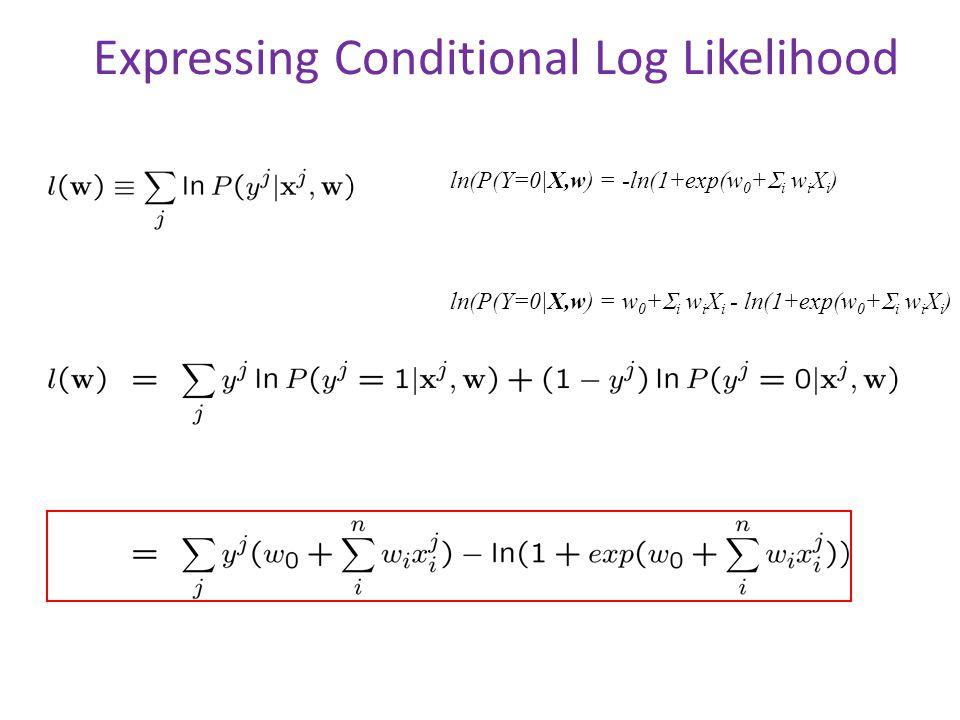 Expressing Conditional Log Likelihood ln(P(Y=0 X,w) = -ln(1+exp(w 0 +  i w i X i ) ln(P(Y=0 X,w) = w 0 +  i w i X i - ln(1+exp(w 0 +  i w i X i )