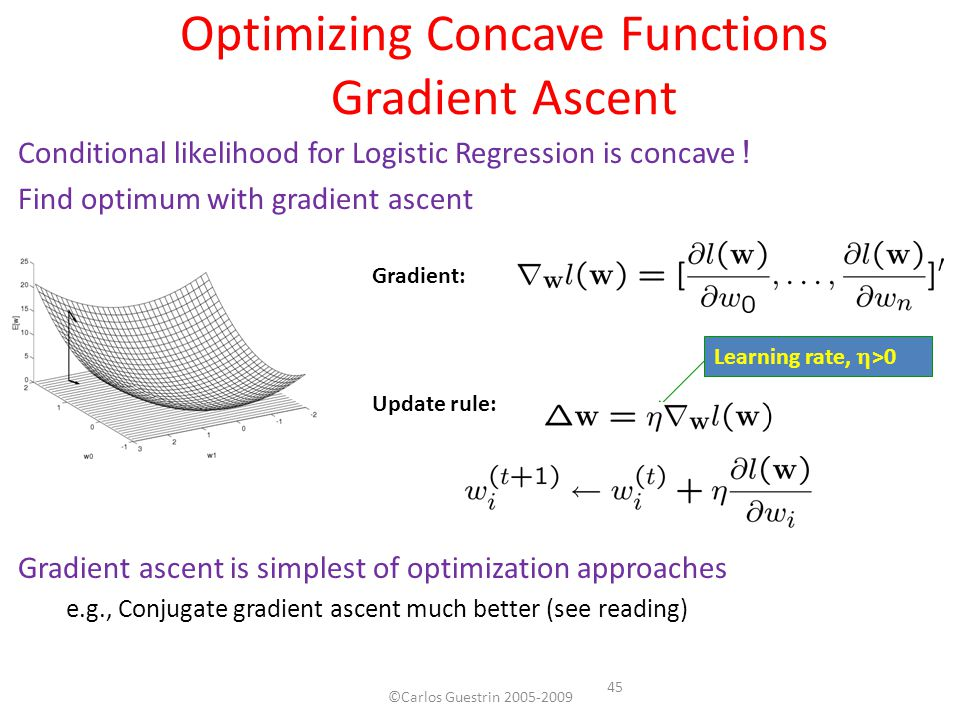 Optimizing Concave Functions Gradient Ascent Conditional likelihood for Logistic Regression is concave ! Find optimum with gradient ascent Gradient as