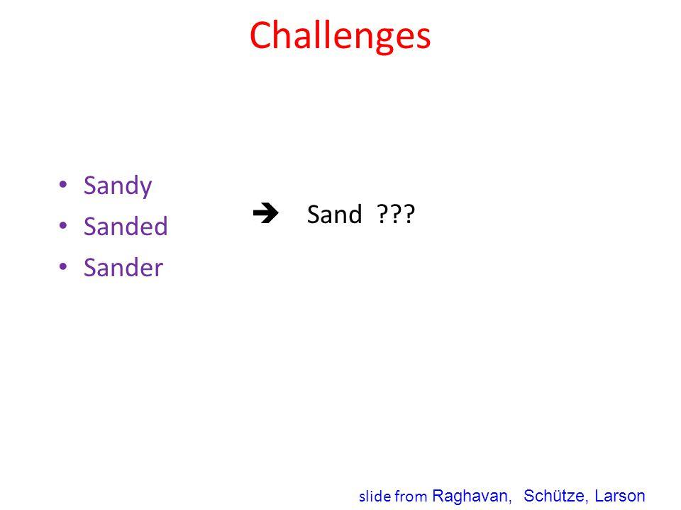Challenges Sandy Sanded Sander  Sand slide from Raghavan, Schütze, Larson