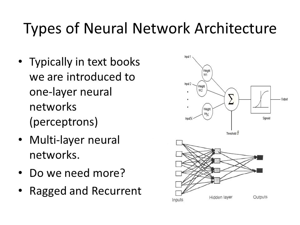 Types of Neural Network Architecture Typically in text books we are introduced to one-layer neural networks (perceptrons) Multi-layer neural networks.