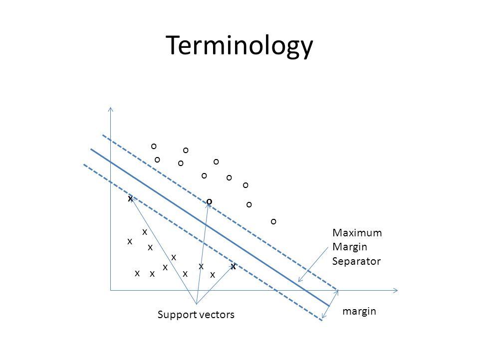 Terminology x x x x x x x x x x x x o o o o o o o o o o o margin Support vectors Maximum Margin Separator