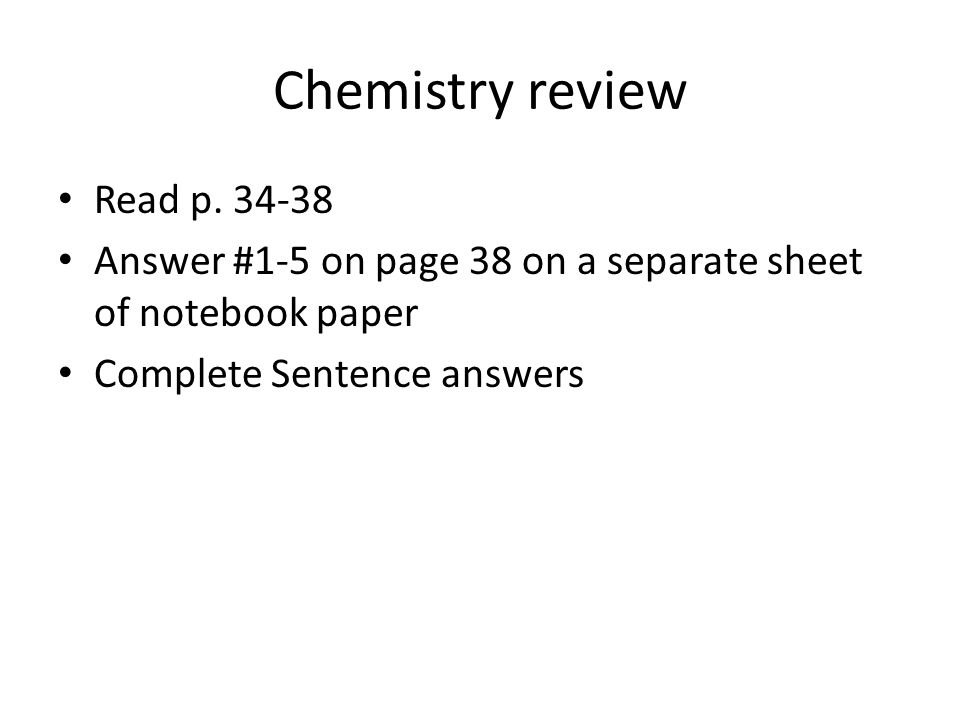 Chemistry review Read p.