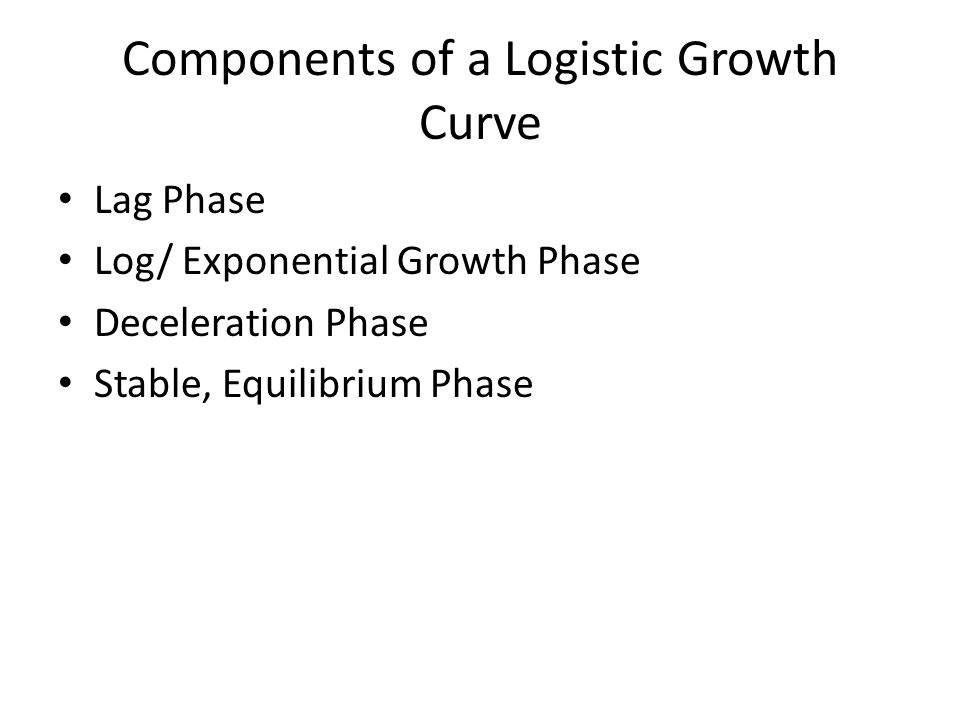 Components of a Logistic Growth Curve Lag Phase Log/ Exponential Growth Phase Deceleration Phase Stable, Equilibrium Phase
