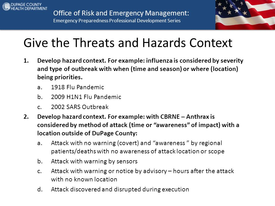 Office of Risk and Emergency Management: Emergency Preparedness Professional Development Series Give the Threats and Hazards Context 1.Develop hazard