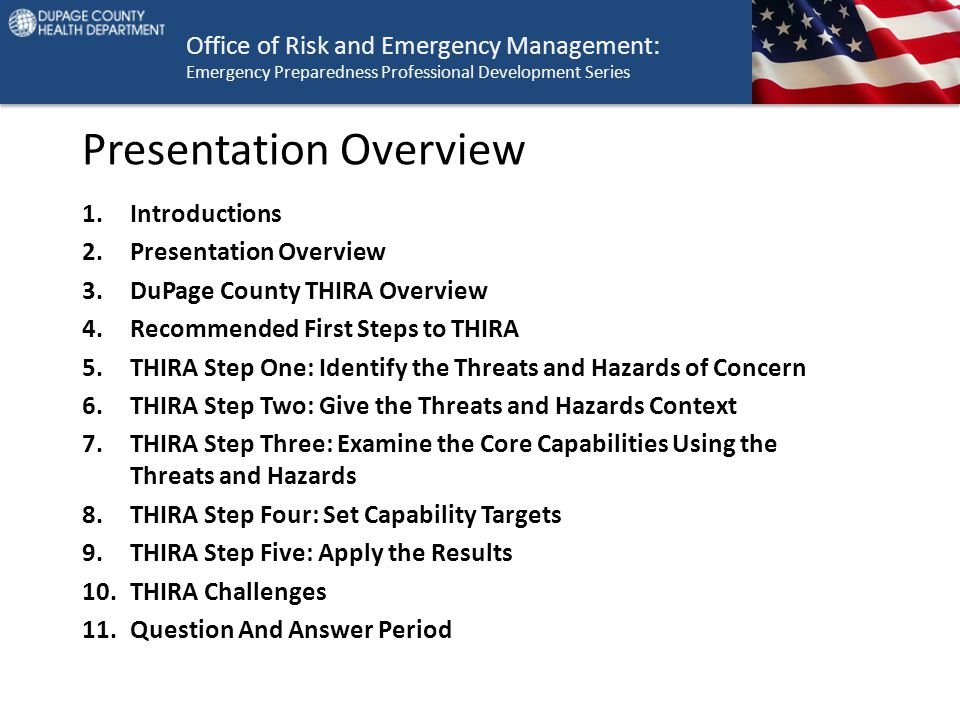 Office of Risk and Emergency Management: Emergency Preparedness Professional Development Series Presentation Overview 1.Introductions 2.Presentation O