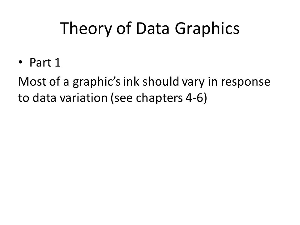 Theory of Data Graphics Part 1 Most of a graphic's ink should vary in response to data variation (see chapters 4-6)