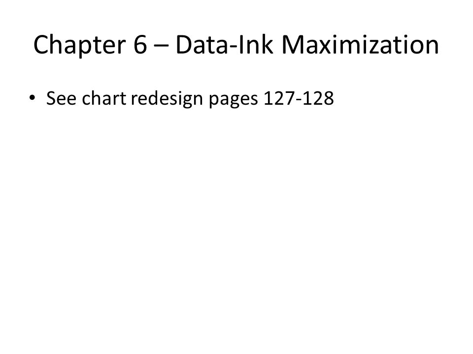 Chapter 6 – Data-Ink Maximization See chart redesign pages 127-128