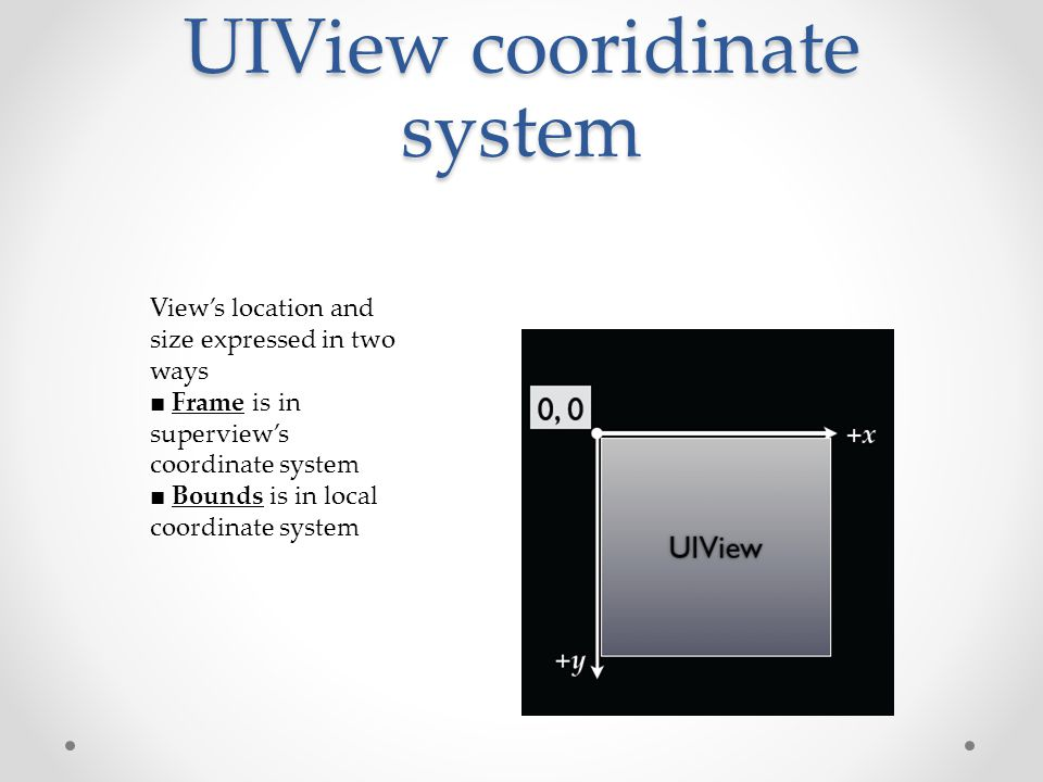 UIView cooridinate system View's location and size expressed in two ways ■ Frame is in superview's coordinate system ■ Bounds is in local coordinate system