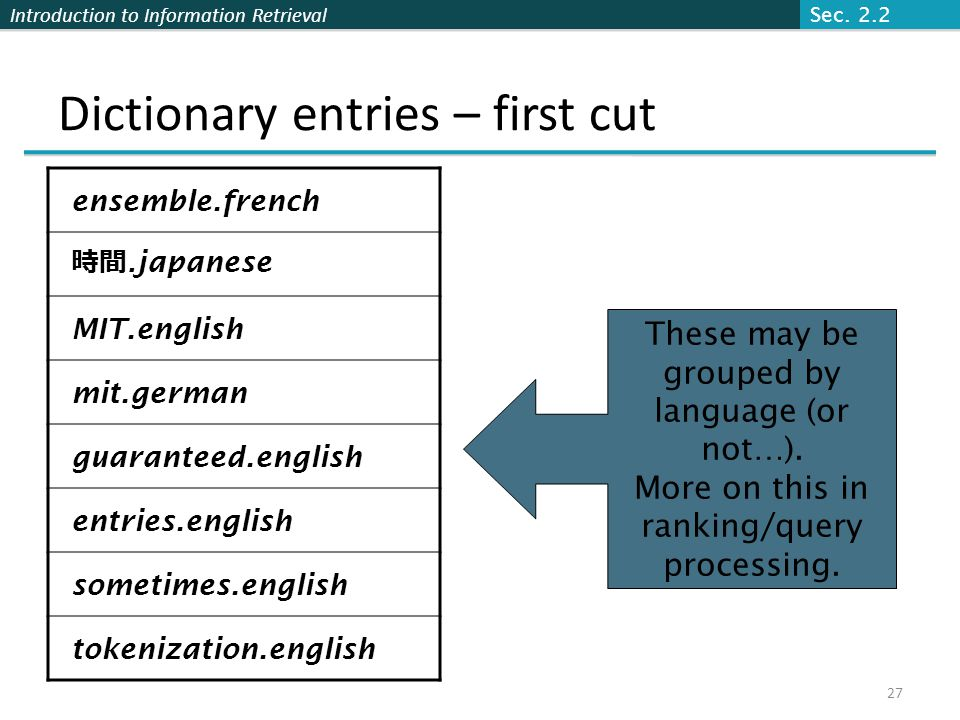 Introduction to Information Retrieval Dictionary entries – first cut ensemble.french 時間. japanese MIT.english mit.german guaranteed.english entries.en