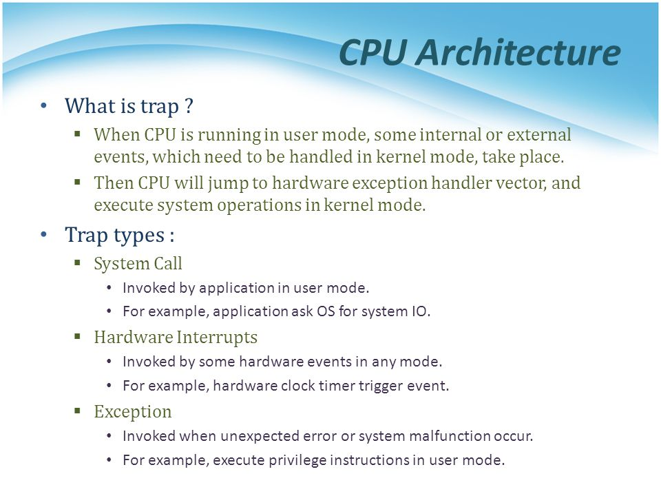 CPU Architecture What is trap .