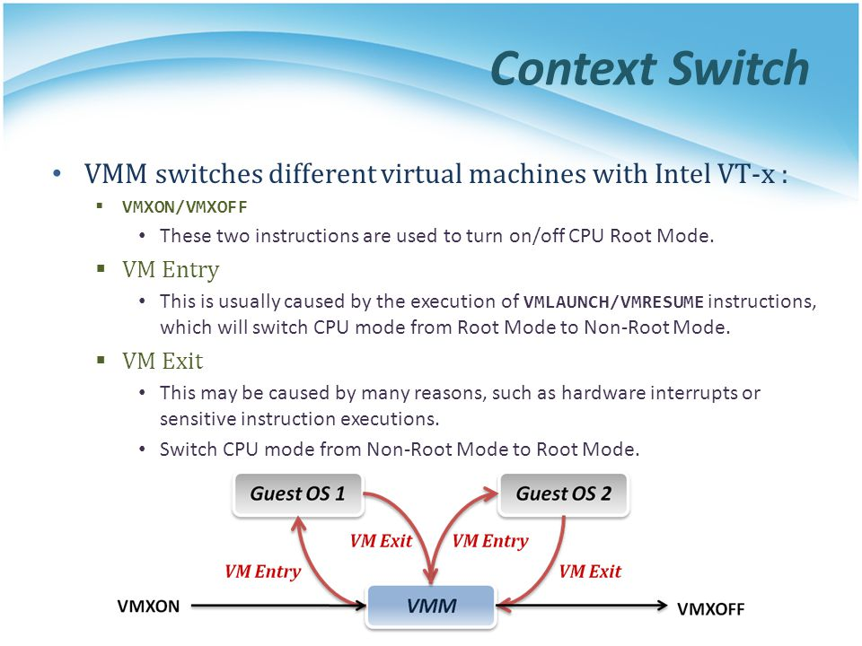 Context Switch VMM switches different virtual machines with Intel VT-x :  VMXON/VMXOFF These two instructions are used to turn on/off CPU Root Mode.