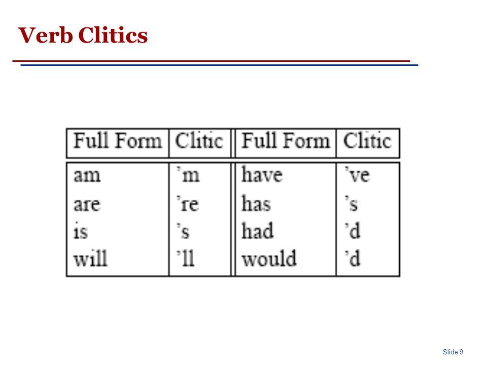 Slide 9 Verb Clitics