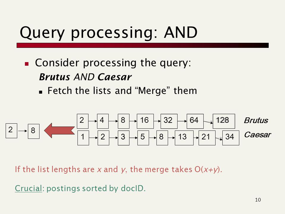 Query processing: AND Consider processing the query: Brutus AND Caesar Fetch the lists and Merge them 10 34 12824816 3264 12 3 581321 128 34 248163264123581321 Brutus Caesar 2 8 If the list lengths are x and y, the merge takes O(x+y).