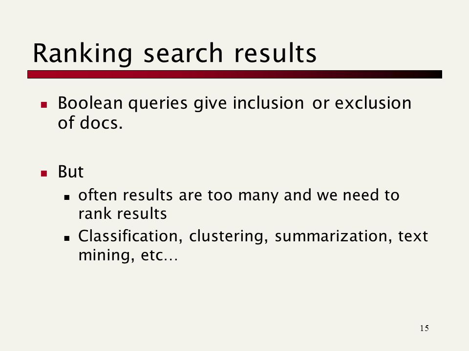 Ranking search results Boolean queries give inclusion or exclusion of docs.