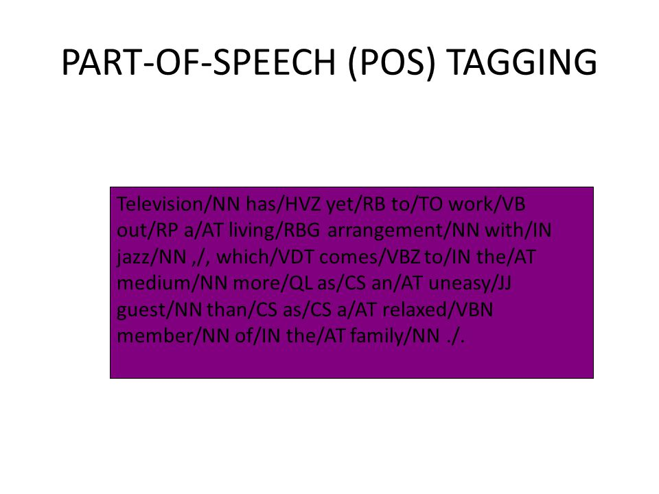 PART-OF-SPEECH (POS) TAGGING Television/NN has/HVZ yet/RB to/TO work/VB out/RP a/AT living/RBG arrangement/NN with/IN jazz/NN,/, which/VDT comes/VBZ t