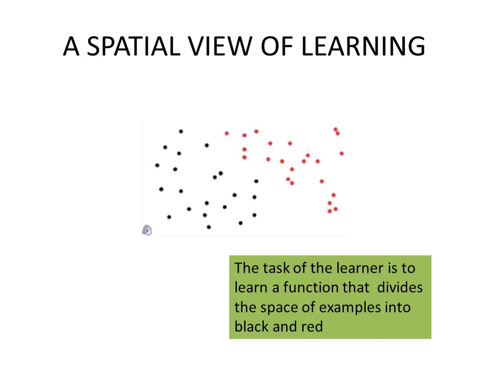 A SPATIAL VIEW OF LEARNING The task of the learner is to learn a function that divides the space of examples into black and red