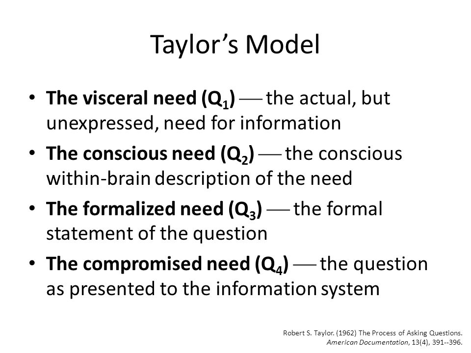 Taylor's Model and IR Systems Visceral need (Q 1 ) Conscious need (Q 2 ) Formalized need (Q 3 ) Compromised need (Q 4 ) IR System Results naïve users Question Negotiation