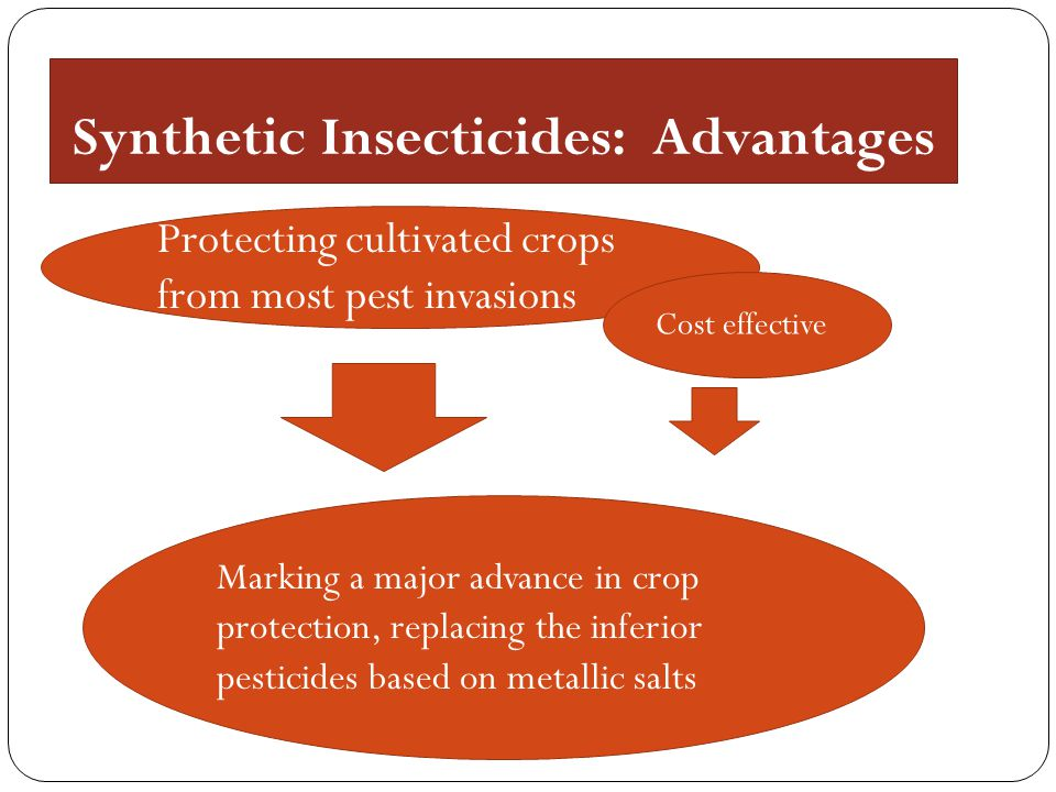 Synthetic Insecticides: Advantages Protecting cultivated crops from most pest invasions Cost effective Marking a major advance in crop protection, rep
