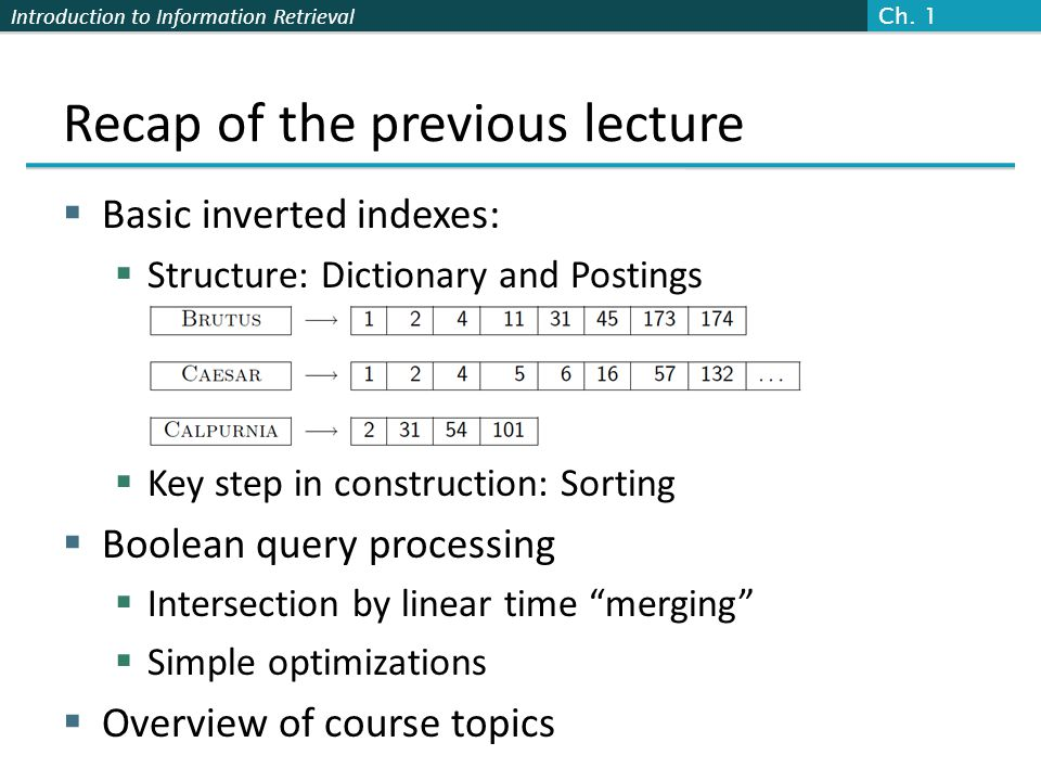 Introduction to Information Retrieval Plan for this lecture Elaborate basic indexing  Preprocessing to form the term vocabulary  Documents  Tokenization  What terms do we put in the index.