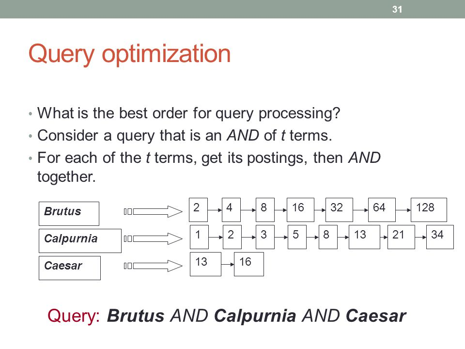Query optimization What is the best order for query processing.
