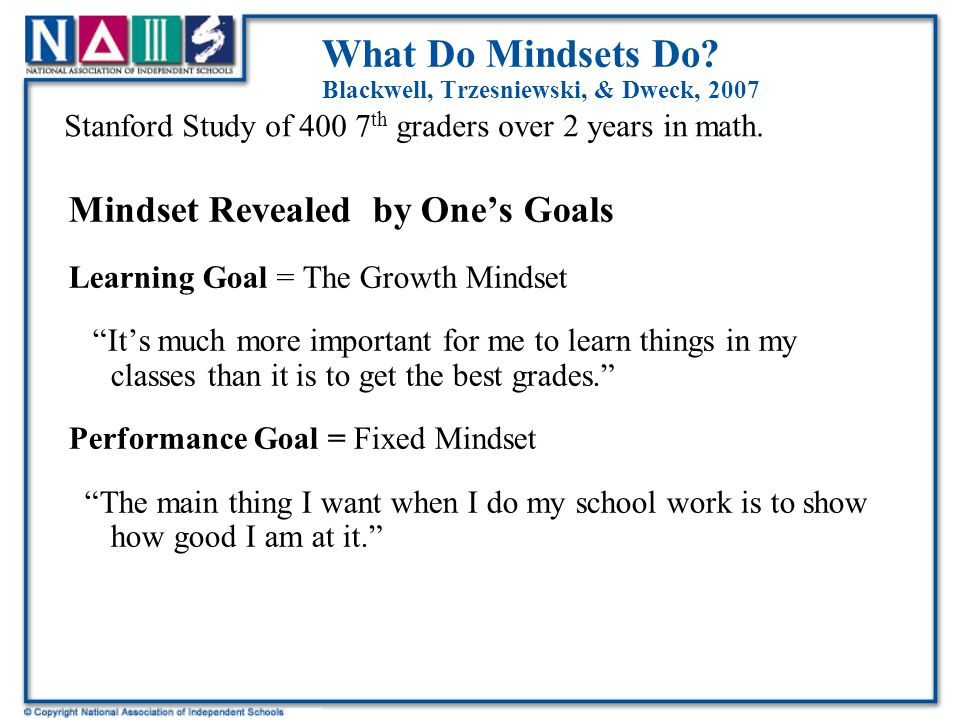 People with Growth Mindsets Source: Carol Dweck, NAIS Board Meeting, 11/11/07  Understand that Einstein wasn't Einstein when he was born, and didn't