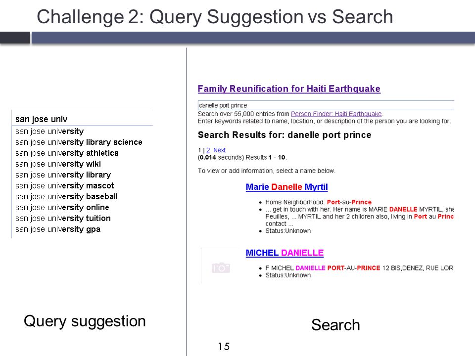 Challenge 2: Query Suggestion vs Search Query suggestion Search 15