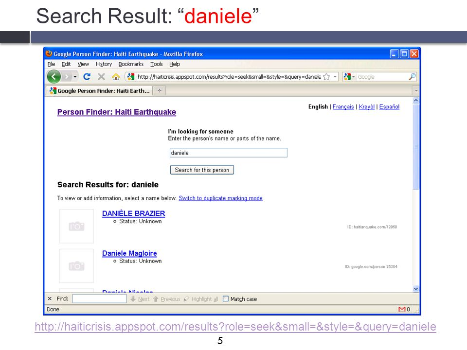 Search Result: daniele http://haiticrisis.appspot.com/results?role=seek&small=&style=&query=daniele 5