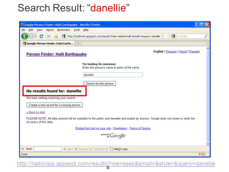 Search Result: danellie http://haiticrisis.appspot.com/results role=seek&small=&style=&query=danellie 6