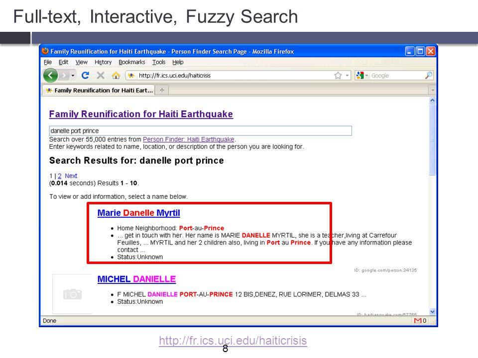 Recent techniques to support two features  Fuzzy Search: finding results with approximate keywords  Full-text: find results with query keywords (not necessarily adjacently) 19