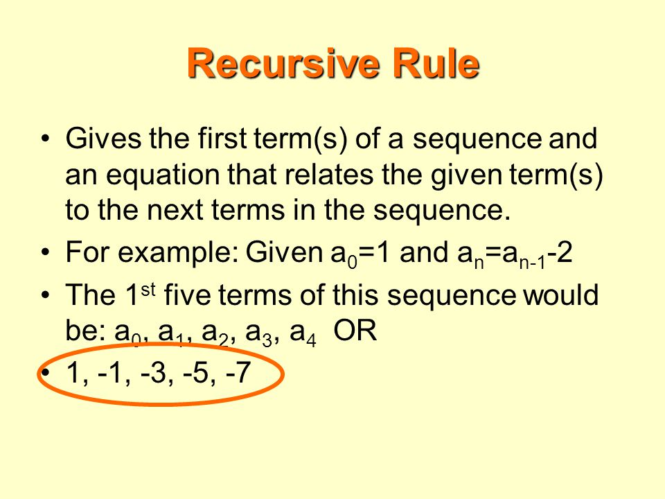 Recursive Rule Gives the first term(s) of a sequence and an equation that relates the given term(s) to the next terms in the sequence.