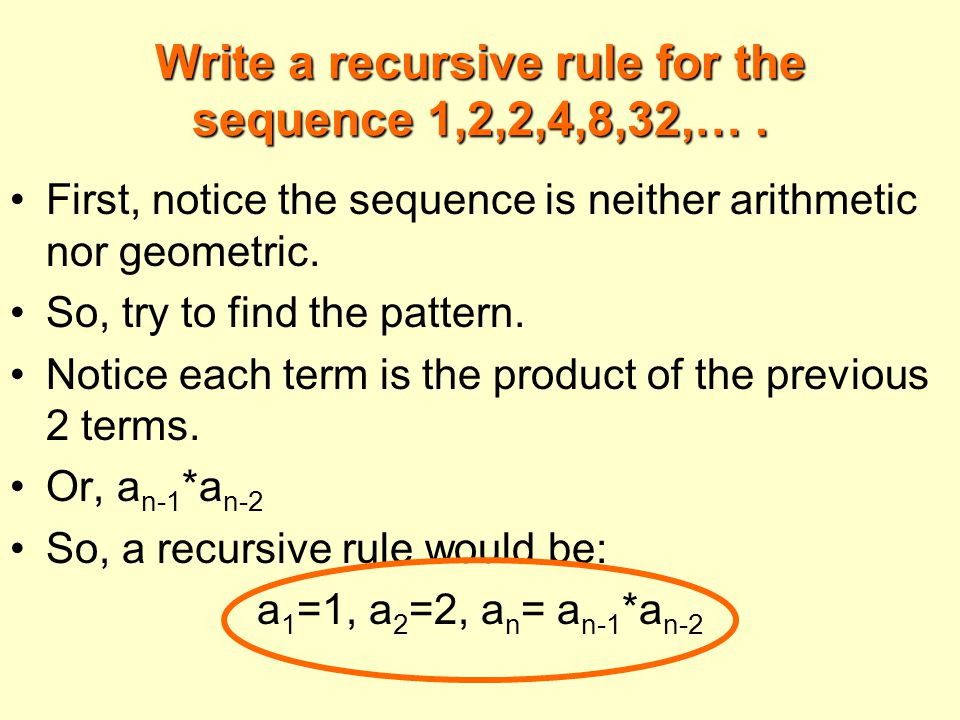Write a recursive rule for the sequence 1,2,2,4,8,32,….