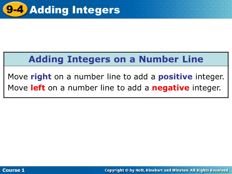 Course 1 9-4 Adding Integers Parentheses are used to separate addition, subtraction, multiplication, and division signs from negative integers.