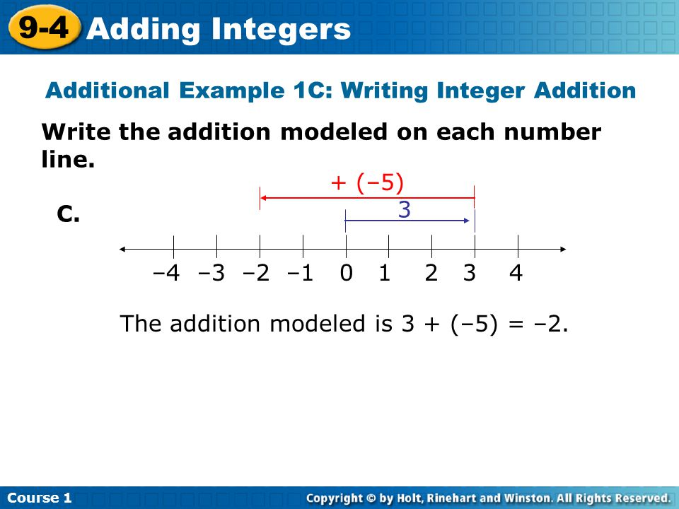Course 1 9-4 Adding Integers Try This: Example 1A & 1B Write the addition modeled on each number line.