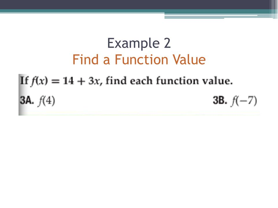 Example 2 Find a Function Value