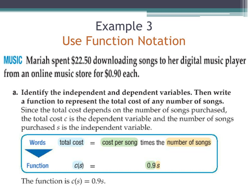 Example 3 Use Function Notation