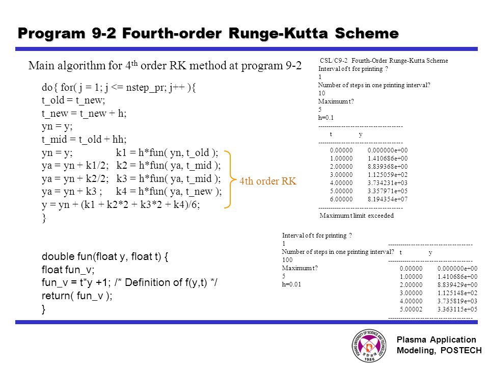 Plasma Application Modeling, POSTECH Program 9-2 Fourth-order Runge-Kutta Scheme do{ for( j = 1; j <= nstep_pr; j++ ){ t_old = t_new; t_new = t_new + h; yn = y; t_mid = t_old + hh; yn = y; k1 = h*fun( yn, t_old ); ya = yn + k1/2; k2 = h*fun( ya, t_mid ); ya = yn + k2/2; k3 = h*fun( ya, t_mid ); ya = yn + k3 ; k4 = h*fun( ya, t_new ); y = yn + (k1 + k2*2 + k3*2 + k4)/6; } double fun(float y, float t) { float fun_v; fun_v = t*y +1; /* Definition of f(y,t) */ return( fun_v ); } Main algorithm for 4 th order RK method at program 9-2 4th order RK CSL/C9-2 Fourth-Order Runge-Kutta Scheme Interval of t for printing .