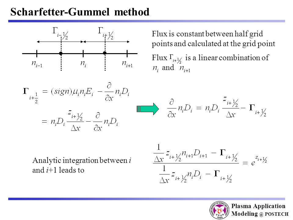 Plasma Application Modeling @ POSTECH Scharfetter-Gummel method   Flux is constant between half grid points and calculated at the grid point Flux is