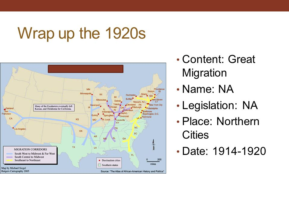 Wrap up the 1920s Content: Great Migration Name: NA Legislation: NA Place: Northern Cities Date: 1914-1920