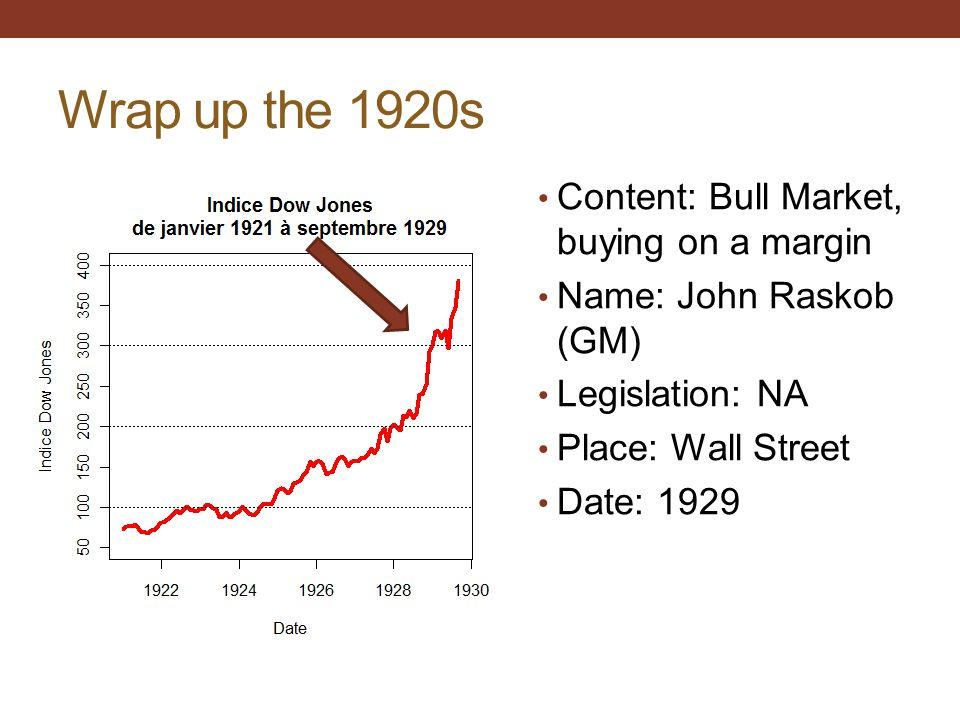Wrap up the 1920s Content: Bull Market, buying on a margin Name: John Raskob (GM) Legislation: NA Place: Wall Street Date: 1929