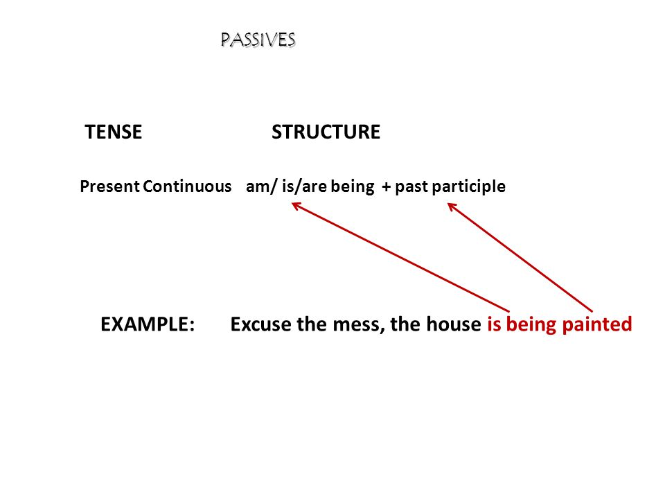 PASSIVES TENSESTRUCTURE EXAMPLE: Simple Pastwas / were + past participle I wasn't invited, but I went