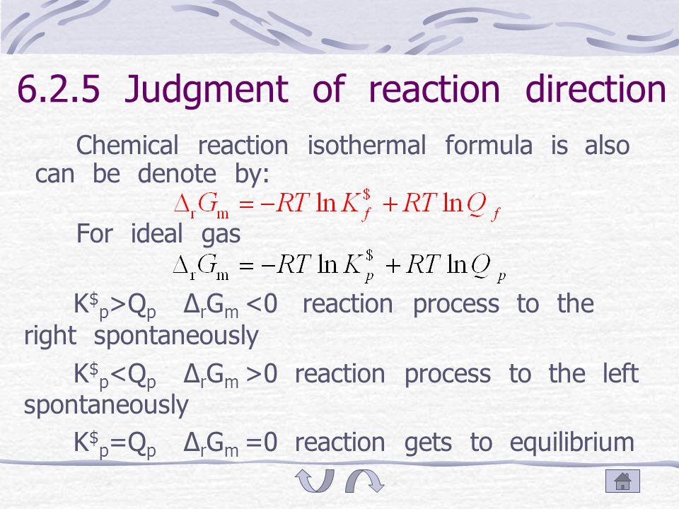 6.2.4 Equilibrium constant In equilibrium, Δ r G m =0, therefore: K $ f, thermodynamics equilibrium constant, or standard equilibrium constant.