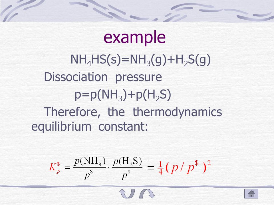 6.4.2 Dissociation pressure When certain substance dissociates at some gas pressure it produces, this gas pressure is called dissociation pressure.