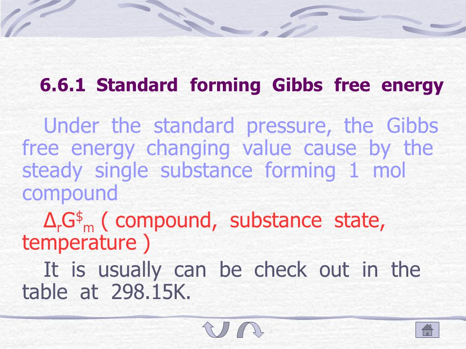 6.6 Standard forming Gibbs free energy standard mole reaction Gibbs free energy changing value Mole standard forming Gibbs free energy The ionic mole standard forming Gibbs free energy The use of numerical value of Δ f G $ m