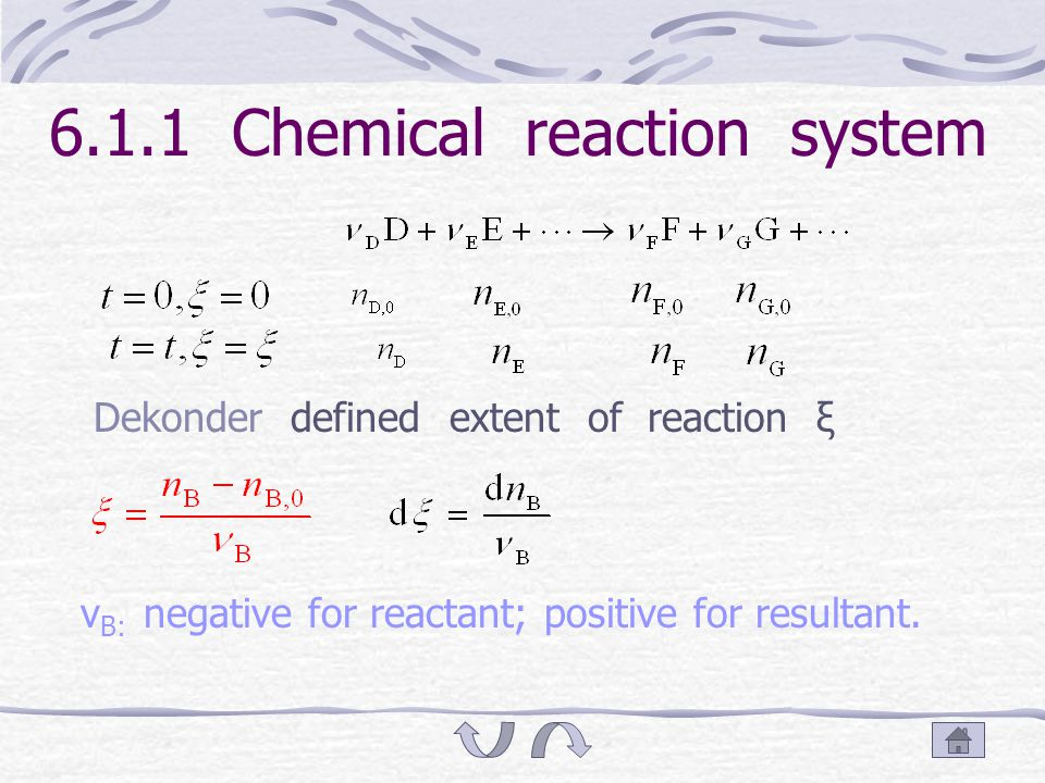 6.1 Equilibrium condition and affinity of chemical reaction Chemical reaction system Extent of reaction Equation of thermodynamics Direction and limit of chemical reaction Affinity of chemical reaction